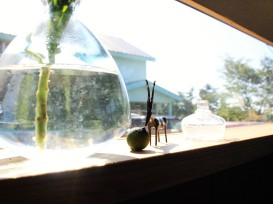 Cute ornaments and glass works on the window sill